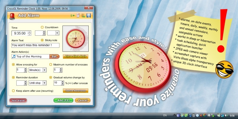 Click to view CrossGL Reminder Clock 1.12 screenshot