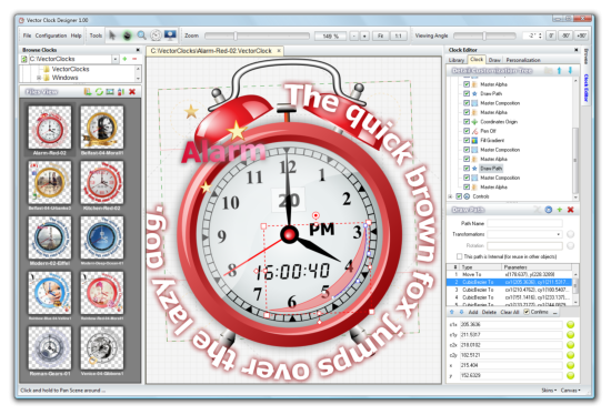 Vector Clock Designer with opened Clock Design.